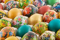 Many decorated different easter eggs background