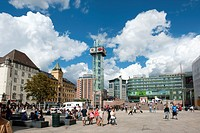 Public square, pedestrian zone, Trafikanten tower, transportation hub in the city, Oslo, Norway, Scandinavia, Northern Europe, Europe