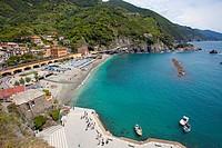 Beach of Monterosso al Mare, Cinque Terre, La Spezia Province, Parco Nazionale delle Cinque Terre national park, UNESCO World Heritage Site, Liguria, ...