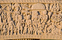 Relief with scenes from the life of Buddha, stupas of Sanchi, UNESCO World Heritage site, built by King Ashoka, Mauryan dynasty, Sanchi, Vidisha in Ma...