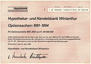 Historic security, warrant, 20 Swiss francs, 1991, Hypobank, Hypothekar_ und Handelsbank Winterthur, Switzerland, Europe
