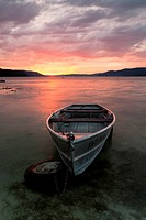Evening mood with a boat at sunset on Lake Constance near Dingelsdorf, Baden-Wuerttemberg, Germany, Europe, PublicGround
