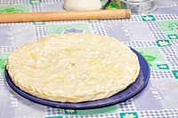 Closed meat pie on plate