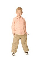 Five year old boy wearing khaki pants and striped button-down shirt  He is smiling and looking at the viewer/camera