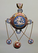 Goldsmith's art, 19th century. Mosaic brooch in gold setting, around 1850.  Private Collection