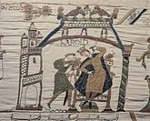 Detail of Queen Mathilda's Tapestry or Bayeux Tapestry depicting astrologers signalling the presence of a comet, bad omen for King Harold, France 11th...