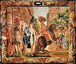 King Louis XIII of France on horseback, 17th century tapestry woven in Brussels after designs by Jacob Jordaens, from the series The Riding School.  V...