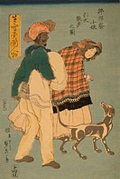 Japanese print shows a dark_skinned man wearing a turban walking behind a French woman walking a dog. From series entitled: Ikiutsushi ikoku jinbutsu ...