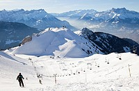 Skiing in Leysin, Switzerland