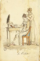 Fashion, France, 19th century. The toilette, engraving after a drawing by Horace Vernet. From Almanach des Modes, 1815