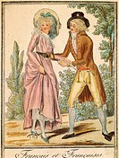 Fashion, France, 18th century. French couple in 1791. Engraving.  Paris, Bibliothèque Des Arts Decoratifs (Library)