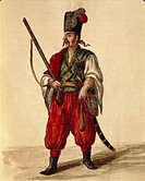 Italy, 18th century. Jan van Grevenbroeck or Giovanni Grevembroch (1731-1807), Gli Abiti de Veneziani, illustrated book of costumes. A Carabineer unif...