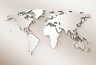 World map extruded serpia tones