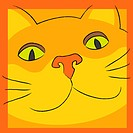 Smiling orange cat face looking at you. EPS 8 CMYK with global colors vector illustration.