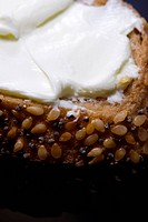 Healthy breakfast _ bread and cream cheese close up photo