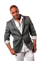 Smiling Young African American Male Model Natural Looking on Isolated Background