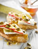 Apple and honey bruschetta