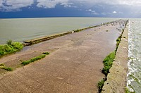sea bay pier after storm and rain