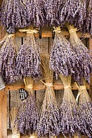 Dry lavender branches hanging on a door, Le Castelet, Provence, France