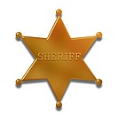 Illustration of a golden sheriff badge isolated on a white background