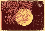 Tree in moon night with bright stars.Vector vintage illustraton