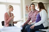 Pregnant woman having medical examination.