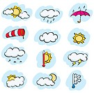 Vector doodle set of weather and climate forecast icons
