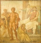 Italy, Campania, Pompeii UNESCO World Heritage List Site, 1997, Punishment of Ixion, fresco from House of Vettii, 1st Century