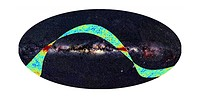 Planck space observatory, first light survey. Whole_sky map with the Milky Way across centre, with the coloured band showing the initial scans carried...