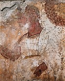 Aristocratic male figure, fresco from Tomb 1 of the Necropolis in Spinazzo in Paestum, Campania, Italy. Detail. Ancient Greek civilization, Magna Grae...