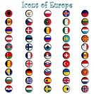 icons of europe complete collection, metallic symbols against white background, abstract vector art illustration