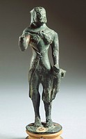 Bronze statue depicting Hercules. Etruscan Civilization, ca 500 BC.  Florence, Museo Archeologico Nazionale (Archaeological Museum)