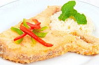 Delicious piece of fried fish with white rice