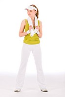 Fitness teenager happy woman in sportive outfit on white
