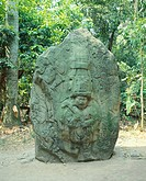 Basalt stele showing the figure of a king, artifact originating from La Venta, Villahermosa (Mexico). Olmec Civilization in La Venta, 9th-4th Century ...