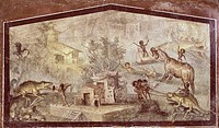 Fresco depicting a crocodile being hunted by Pygmies, from Pompeii (UNESCO World Heritage List, 1997), Campania. Roman Civilization, 1st Century.