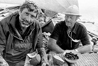 Thor Heyerdahl 1914_2002, at right, Norwegian ethnographer and explorer, on the papyrus boat Ra with a fellow crew member. Heyerdahl used local materi...