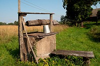 Vintage wooden well in the countryside