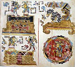 Historical genealogical scene sent from Mexico by Hernan Cortes to Charles V in 1519, a copy of the Code of Vienna or Vindobonense, Mexico. Mixtec Civ...