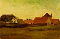 Farmhouses in Loosduinen near The Hague at Twilight 1880