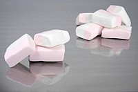 Pink_white Marshmallows on a silver tray