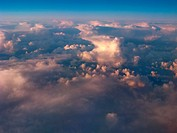 Aerial view of the sky with evening clouds