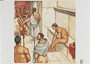 Roman Civilization. Men at thermal gymnasium. Colour illustration