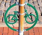 Bicycle Stand on Cobblestone Street in Historic Philadelphia