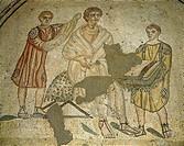 Scene of dressing, detail from the mosaic in the baths, Villa Romana del Casale (UNESCO World Heritage, 1997), Piazza Armerina, Sicily. Roman Civiliza...