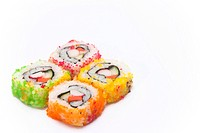 Sushi on white isolate.,it is one of japanese food