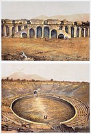 Reproduction of some views of an amphitheatre, from The Houses and Monuments of Pompeii, by Fausto and Felice Niccolini, Volume III, Amphitheatre, Pla...