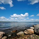 Gravel coast Stony shore of Ladoga lake, Russia