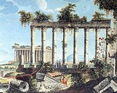 The Great Temple in Baalbek, watercolor by Peter Paul Benarzech, 18th Century.  Private Collection