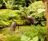 Carved storks in Japanese garden pond